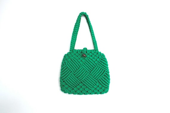 Green Vintage Macrame Handbag Vegan Purse 1970s