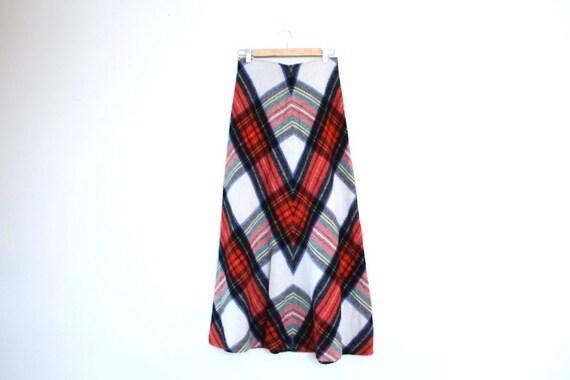 Vintage Plaid Wool 1970s Maxi Skirt Size S/M