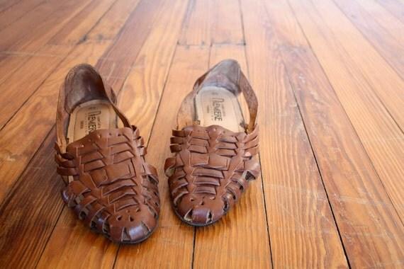 Shoes Vintage Brown Huarache Leather Flats Size 6