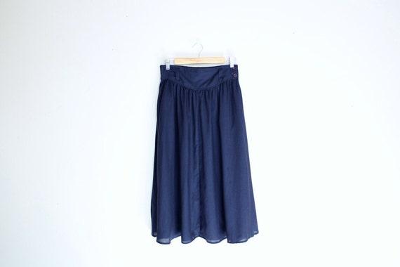 Vintage Navy Blue Midi Skirt Size M/L
