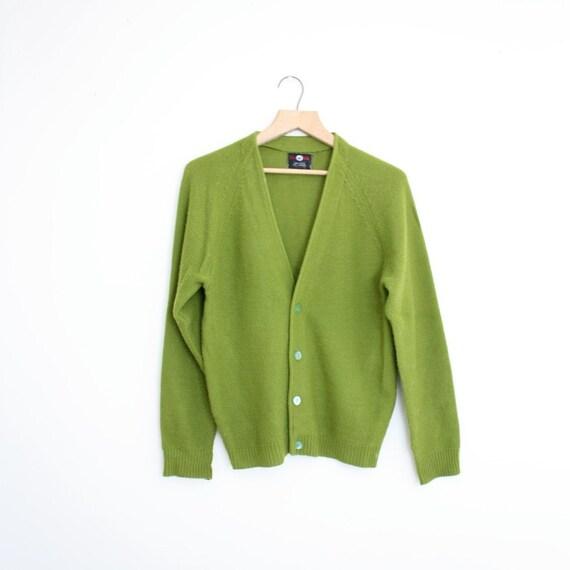 Vintage Cardigan Avocado 1960s Mens Sweater Size L
