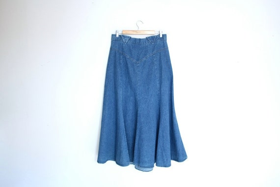 1970s gored denim trumpet skirt size l xl