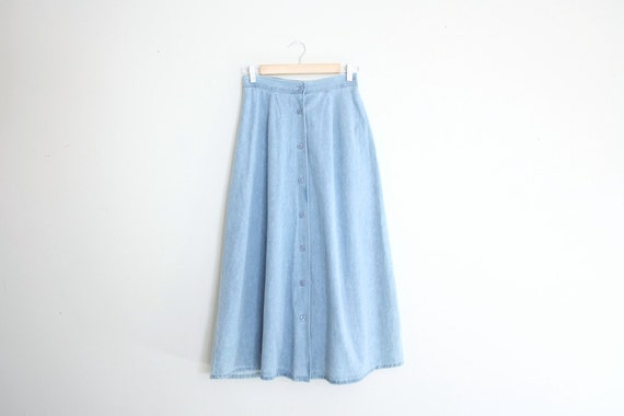 Reserved - Vintage Pale Blue Denim Jean Skirt Size M