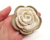 ALL funds are going to cat shelter - Cream crochet and leather flower Brooch SALE