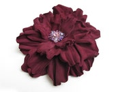 Burgundy leather flower brooch