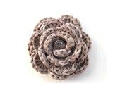 Tan light brown crochet flower brooch SALE