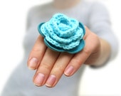 Turquoise crochet and leather flower ring SALE
