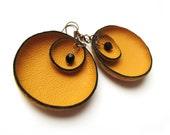 Orange leather flower Earrings