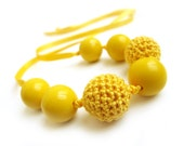 Yellow versatile necklace / bracelet with crochet beads