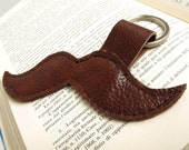 Brown leather mustache keychain