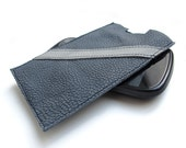 Gray leather  iPhone 5 cell phone sleeve case