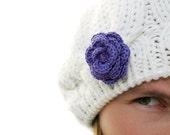 Purple crochet flower brooch SALE