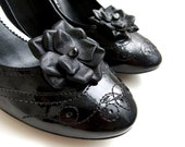 Black leather flower Shoe Clips