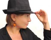 Orange crochet Earrings with black beads