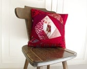 Red Pillow Cover  Patchwork OOAK