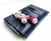 ALL funds are going to cat shelter - Dark blue leather cell phone sleeve case SALE