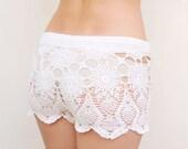 Crochet beach shorts in cotton Custom made to order crochet shorts Kate Hudson