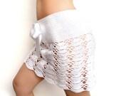 Crochet beach mini skirt in white cotton Custom made to order