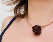 Necklace choker with brown fabric bead