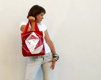 Red and white Patchwork Bag fabric bag OOAK