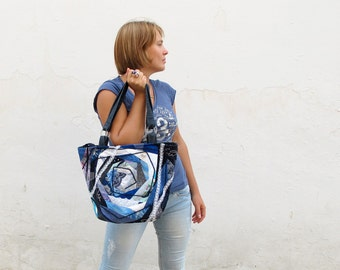 OOAK quilted bag BLUE SYMPHONY