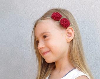 Dark red crochet flower bobby pins - Set of 2