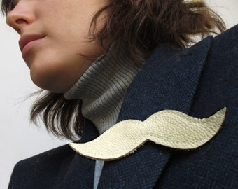 ALL funds are going to cat shelter - Ivory leather mustache Brooch SALE