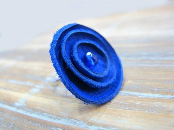 Blue indigo leather ring