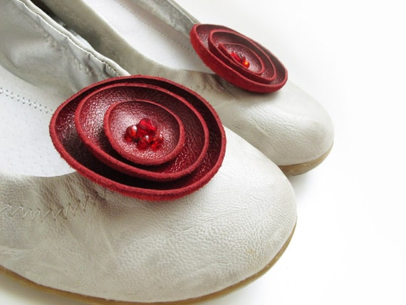 Deep Red leather flower Shoe Clips