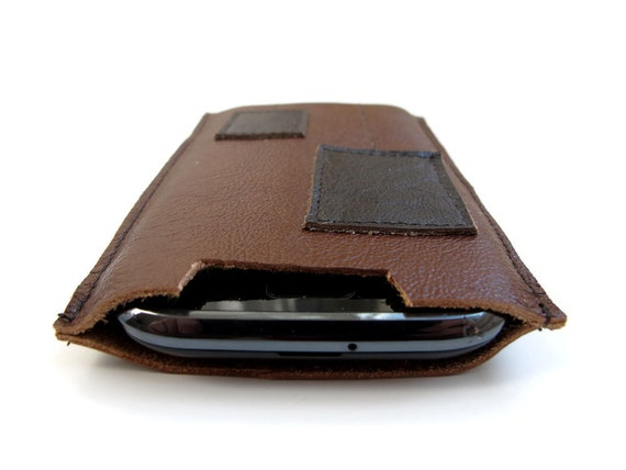 Brown Leather cell phone sleeve case