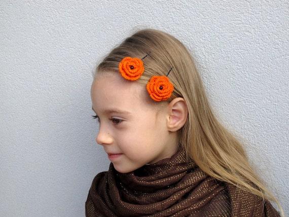 Orange crochet flower bobby pins - Set of 2