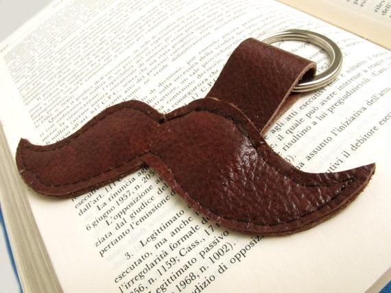 Brown leather mustache keychain