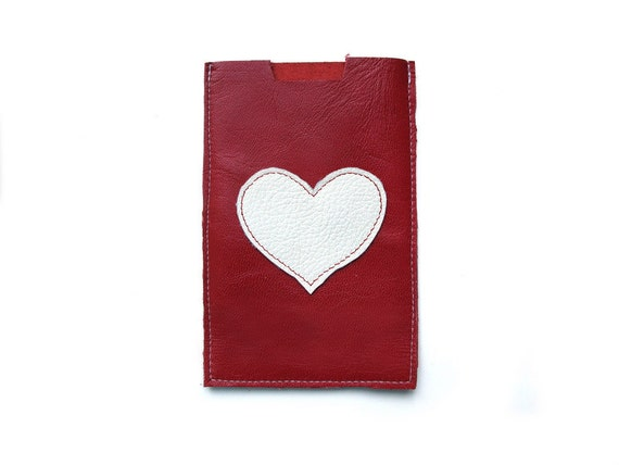 ALL funds are going to cat shelter - Red  with white heart Leather cell phone sleeve case