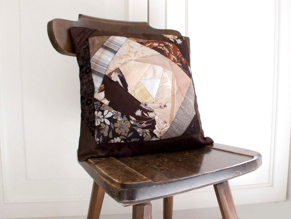 Brown Pillow Cover  Patchwork OOAK