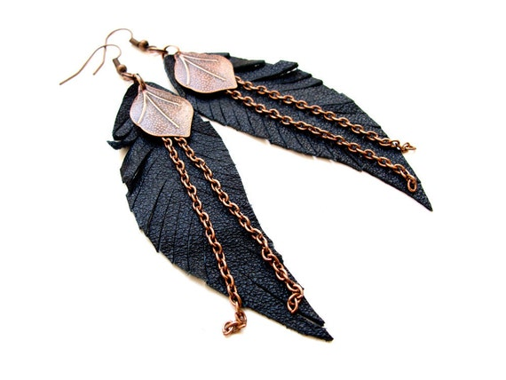 RESERVED black leather feather earrings antique copper