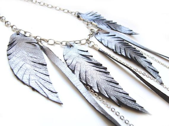 Grey metallic leather feather necklace boho necklace