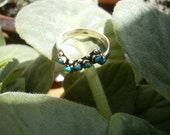 Sterling Silver with Turquoise Stones Zig-Zag Ring Size 8