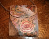 Vintage Anuschka Hand Painted French Wallet FREE SHIPPING