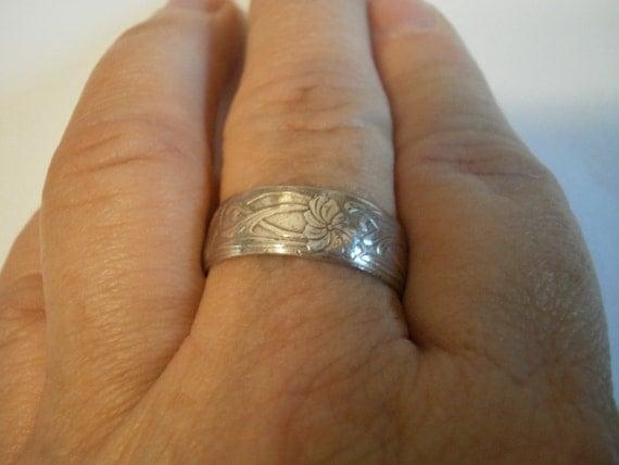 Antique Sterling Silver Art Deco Orange Blossoms Wedding Ring Size 10-11