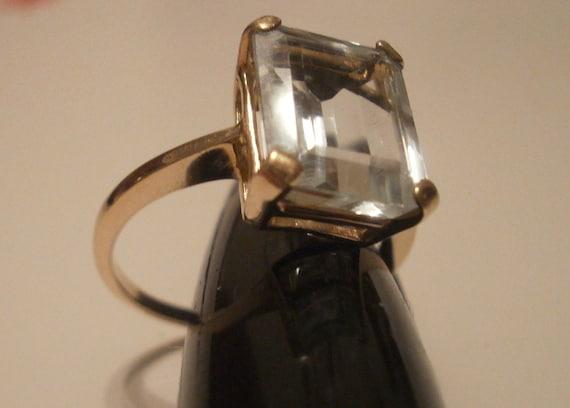Vintage 14k and Light Aquamarine Ring, Size 6