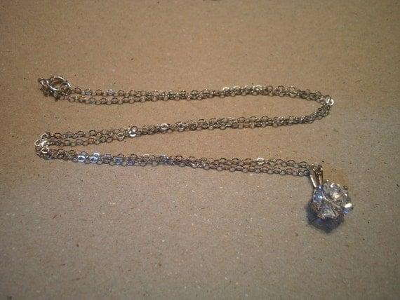 "Vintage Faux Diamond Pendant on 18"" Sterling Silver Chain"