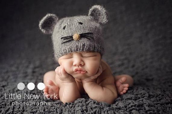 Newborn photo prop, newborn hat, newborn boy, newborn girl, knit newborn hat, newborn props, Little Mouse grey mohair hat newborn size.