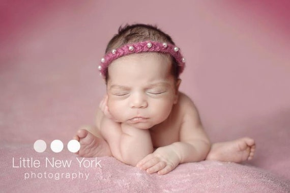 Pink or 9 colors Mohair newborn halo with pearls