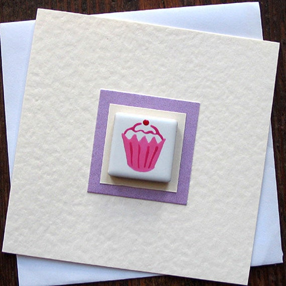 Birthday Card Cupcake, Greeting Card, Magnet Card, Card for Mum, Card for Girl, Thankyou Card