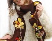 Kniting Scarf - Felted Scarf- Modern  - Fall Fashion - Scarf - Folk Style - Flower Felted