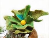Jewlery Brooch-Felted - Flower Brooch -Felt Wool -Fall Fashion- Green Brooch