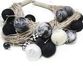 Jewlery Linen Necklace- Felted -Eco Frendly-Modern - White - Black