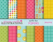 Surfin Fun Cute Digital Papers - Made 2 Match - Surfing, Summer Digital Backgrounds