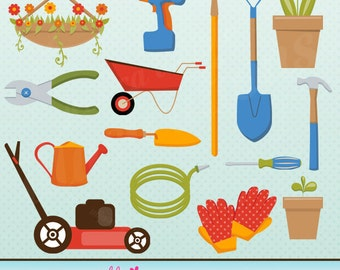 Tool and Garden Cute Digital Clipart for Card Design, Scrapbooking, and Web Design