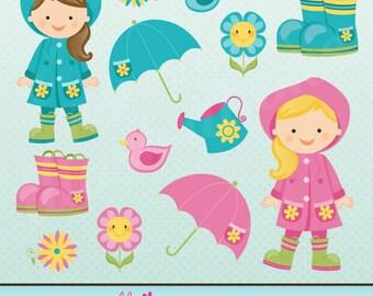 Rainy Day Fun Cute Digital Clipart for Card Design, Scrapbooking, and Web Design